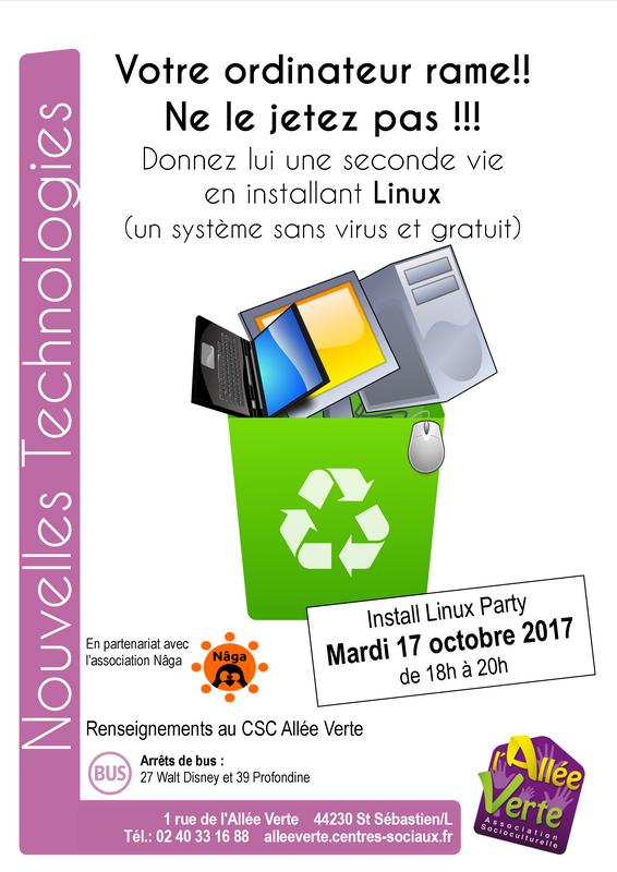 Install party Linux   Centre socioculturel de l'Allée Verte